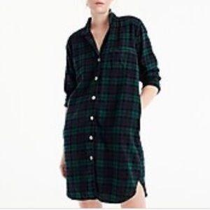 J. Crew Green Plaid Flannel Sleep Dress